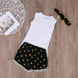 Feather Tank & Polka Dot Shorts with Headband - SimplyBaby.co - 3 piece set Funny baby clothes