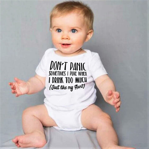 Don't Panic sometimes I puke when I drink too much, just Like My Aunt - Onesie - SimplyBaby.co - Onesie Funny baby clothes