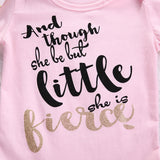 And Though She Be But Little She Is Fierce Onesie with Bow - SimplyBaby.co - Onesie Funny baby clothes