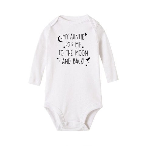 My auntie Loves me to the moon and back Onesie - Free Shipping - SimplyBaby.co - Onesie Funny baby clothes