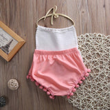 Pink & White Tassel Romper - SimplyBaby.co - Romper Funny baby clothes