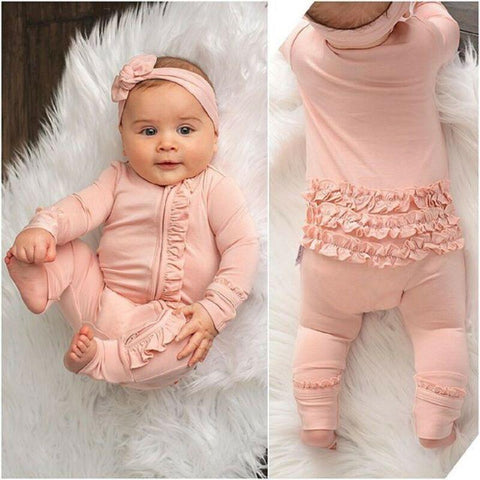 cute Newborn Baby Girl Lace Ruffles Romper Long Sleeve