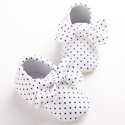 Polkadot Bowtie Moccasins - SimplyBaby.co - Shoes Funny baby clothes