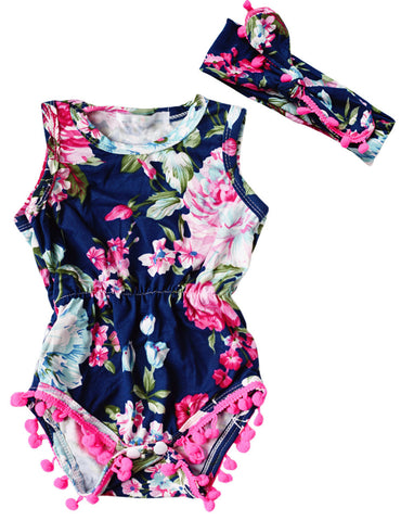 Dark Blue Floral Romper & Headband - SimplyBaby.co - Romper Funny baby clothes