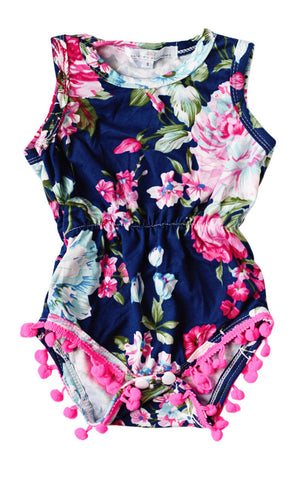 Dark Blue Floral Romper & Headband
