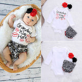 Long Sleeve Kiss Romper+PP Pants+Flower Headband Outfit Grandma was Here - SimplyBaby.co - Romper Funny baby clothes