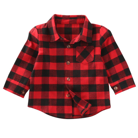 Lightweight Red and Black Plaid Button Up - SimplyBaby.co - Long Sleeve Shirt Funny baby clothes