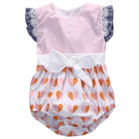Hearts and Floral Lace Ruffles Romper - SimplyBaby.co - Cute & Affordable Clothing For The Whole Family!