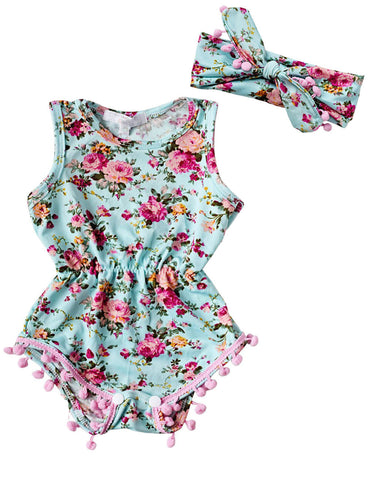 Light Blue Floral Romper & Headband - SimplyBaby.co - Romper Funny baby clothes