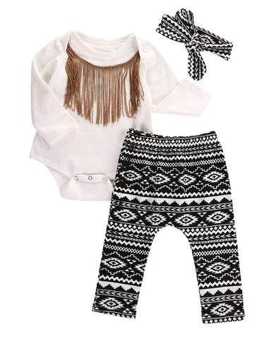Tassel Bodysuit, Pants & Headband 3-Pieces