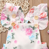 Pastel Floral Romper and Headband - SimplyBaby.co - Romper Funny baby clothes