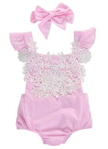 Pink Lace Floral Romper Jumpsuit and Headband 2-Piece Set - SimplyBaby.co - Romper Funny baby clothes
