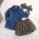 Denim Top with Cheetah Skirt & Headband 3-Piece Set - SimplyBaby.co - 3 piece set Funny baby clothes