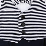 Infant Boy 2 pc. Romper And Jacket With Stripped Tie - SimplyBaby.co - Romper Funny baby clothes