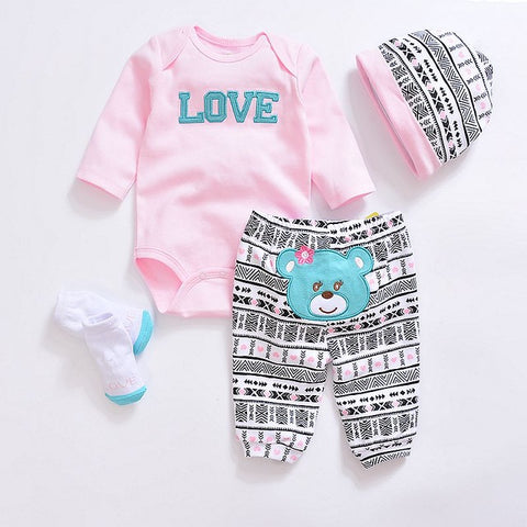 Newborn Girl Suit 4pcs Long Sleeve Infant Bodysuits+Pants+Socks+Hat - SimplyBaby.co - Clothing Sets Funny baby clothes