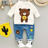 Toddler Boy Long Sleeve Bear T-shirt+Pant Set - SimplyBaby.co - 2-Piece Funny baby clothes