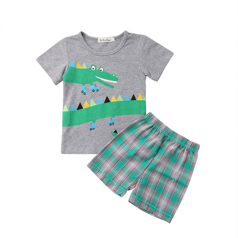 2 pc  Boys Crocodile Short Sleeve Grey T-shirt + Plaid Shorts - SimplyBaby.co - 2-Piece Funny baby clothes