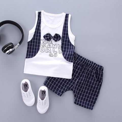 2pcs Toddler Boys Plaid T Shirt+Pants +Bow Tie