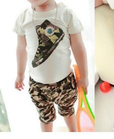 2 Pcs.  Boys Summer Cotton T-shirt +Shorts - SimplyBaby.co - 2-Piece Funny baby clothes