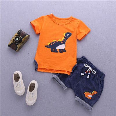 Assorted 2 Pcs Boys Dinosaur Short Sleeve Shirt & Pants - SimplyBaby.co - 2-Piece Funny baby clothes