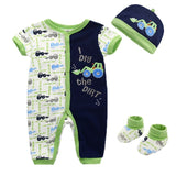 Assorted 3 Pcs Infant Short Sleeve Romper- Shoes -Cute Cap - SimplyBaby.co - Baby Funny baby clothes