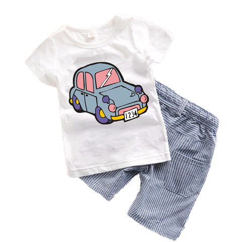 11 Assorted 2 Pcs. Boys T Shirt - Short  Sets - SimplyBaby.co - 2-Piece Funny baby clothes
