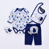 Assorted 4 Pcs Set Long Sleeve Infant Romper+Pants+Socks+Bib - SimplyBaby.co - Baby Funny baby clothes