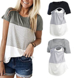 3 Assorted Colors-Nursing Striped Short Sleeve T-shirt - SimplyBaby.co - Materniy Funny baby clothes
