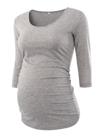 Women's Maternity Blouse - Side Ruched 3 Quarter Sleeve - Scoop Neck Jersey