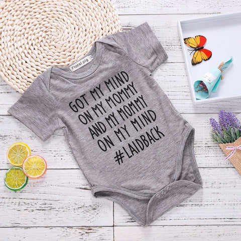 Got My Mind on My Mommy & My Mommy on My Mind Onesie - SimplyBaby.co -  Funny baby clothes