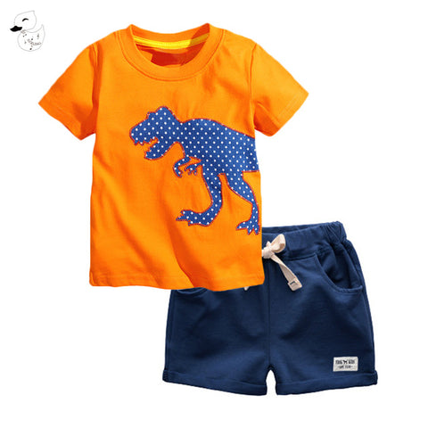 Boys Summer Pullover T - Shirt & Pants - SimplyBaby.co - 2-Piece Funny baby clothes