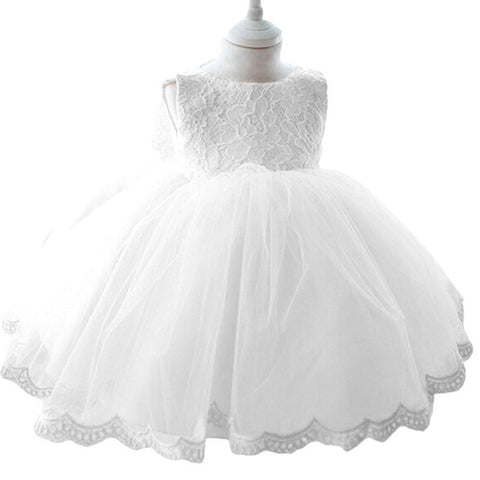 Floral White Infant - Toddler Lace Baptism Dress - SimplyBaby.co - 1-Piece Funny baby clothes