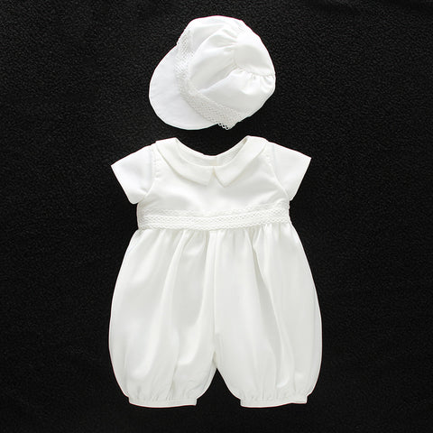Summer Boy Christening Outfit  With Hat