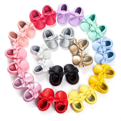 Bow Tie Moccasins - SimplyBaby.co - Shoes Funny baby clothes