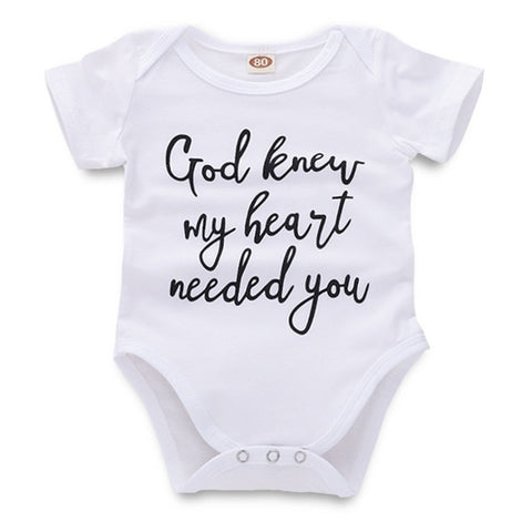 Baby Rompers - God Knew My Heart Needed You - Onesie - Worldwide Free Shipping - SimplyBaby.co - Onesie Funny baby clothes