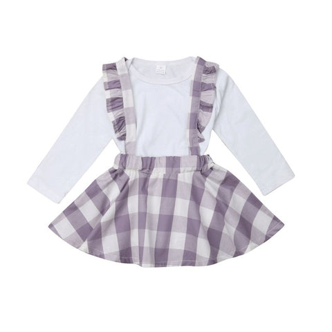 Newborn Baby Girls Plaid strap Ruffle Skirts Lovely Outfit - SimplyBaby.co - Girl Clothes Funny baby clothes
