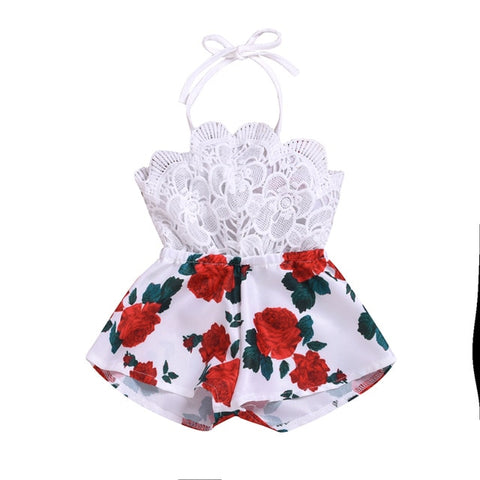 Baby Girl Floral Lace Sleeveless Romper - SimplyBaby.co - Girl Clothes Funny baby clothes