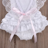 Newborn Baby Girl Lace Romper Sleeveless - SimplyBaby.co - Onesie Funny baby clothes