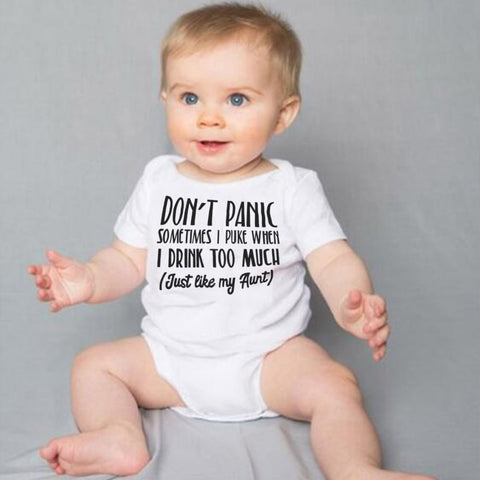 Baby Bodysuit White Onesie Don't Panic Just Like My Aunt Outfit - Free Shipping - SimplyBaby.co - Onesie Funny baby clothes