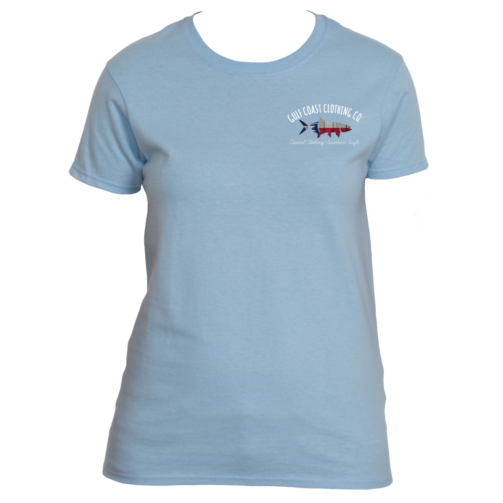Gulf coast clothing co ladies state collection texas tee for Texas tee shirt company