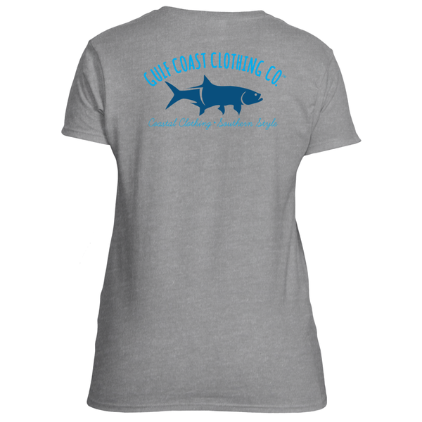 Gulf Coast Clothing Co. Ladies Sports Grey Ladies Logo Tee