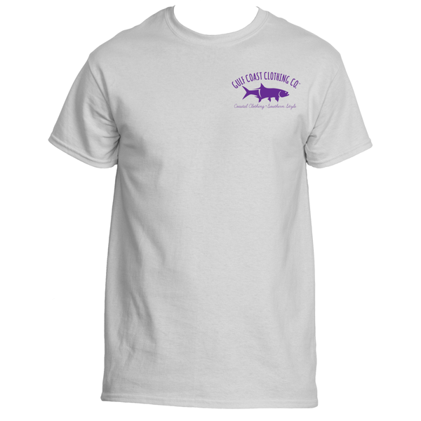Gulf Coast Clothing Co. Greek Varsity Collection White Purple Tee