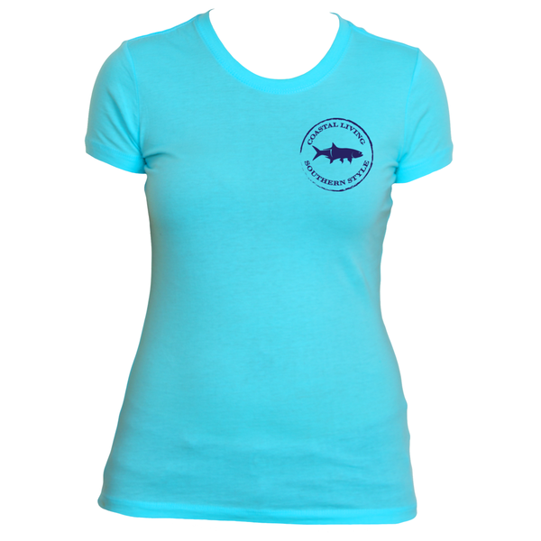 Gulf Coast Clothing Co. Ladies Authentic Gulf Coast Tropics Blue Tee