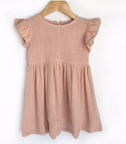 Flutter Sleeve Pink Linen Dress