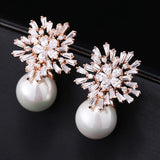Snowflake and pearl earrings rose gold