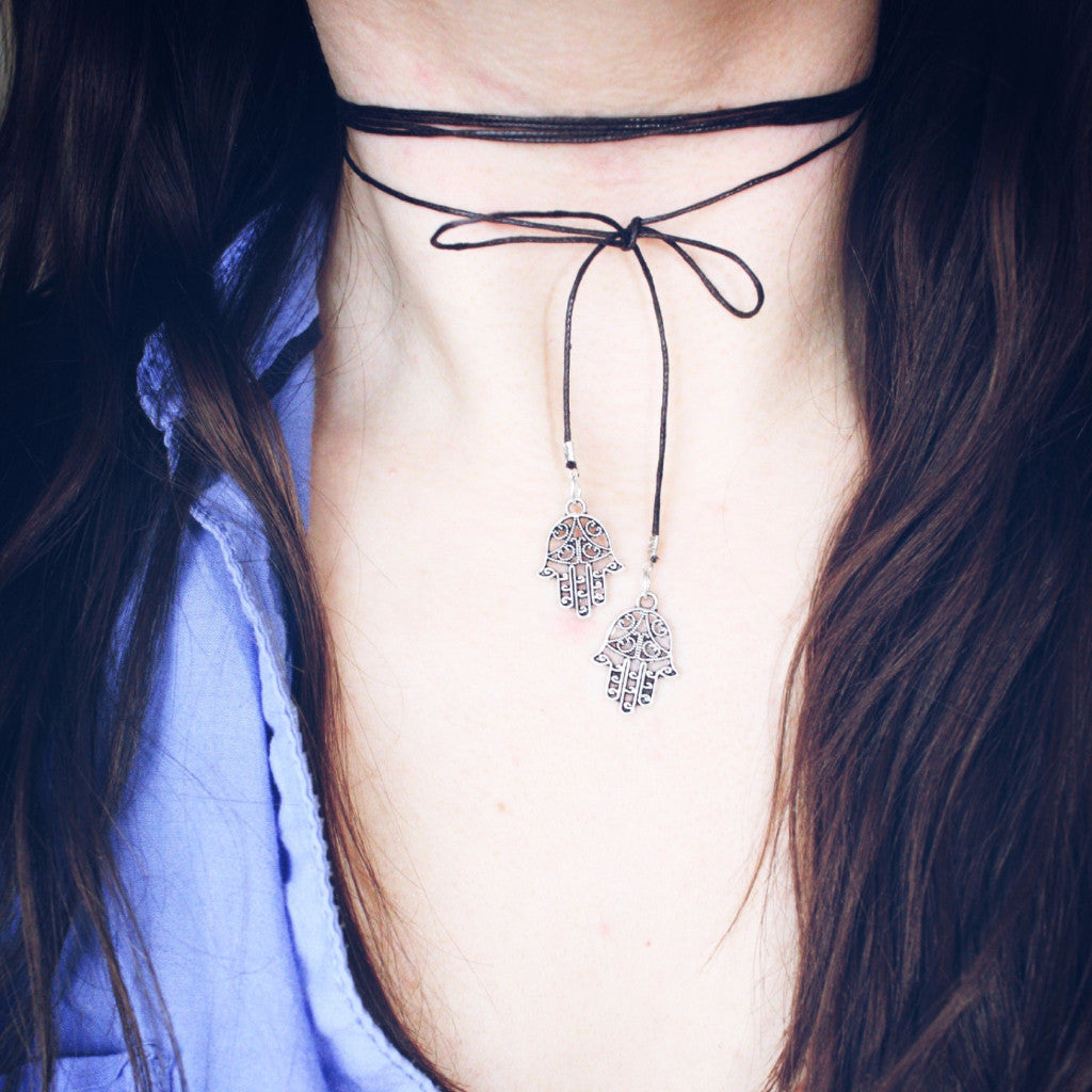 Brown Choker Necklace With Hand of fatima