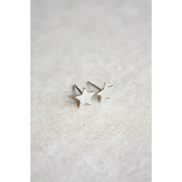 8mm Sterling Silver Tiny Star Stud Earrings