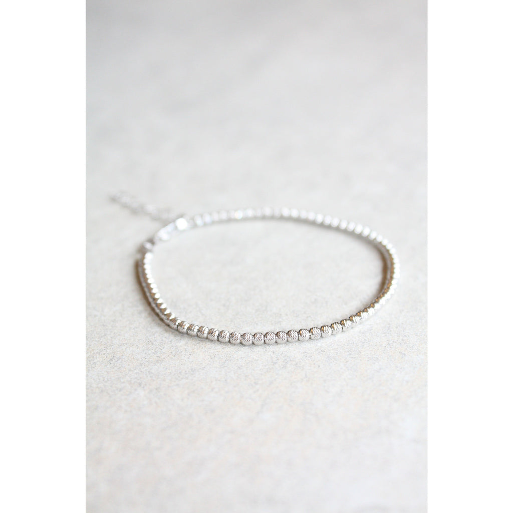 Sterling Silver faceted beads bracelet 2mm
