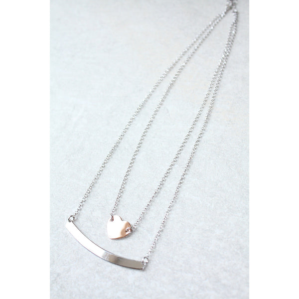 Bar Necklace & Heart Dainty Layering Necklaces
