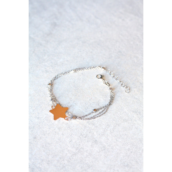Rose gold star bracelet with sterling silver chain - Susy de Marchi Jewelry